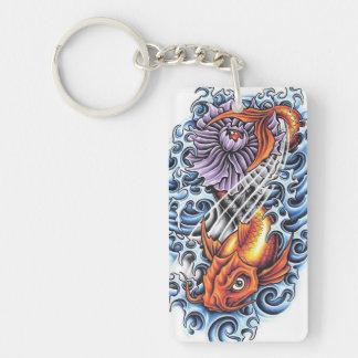 Cool Japanese Lucky Koi Carp purple Lotus tattoo Acrylic Key Chain
