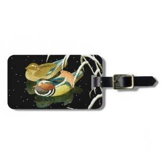 Cool japanese mandarina duck black pond snow travel bag tag