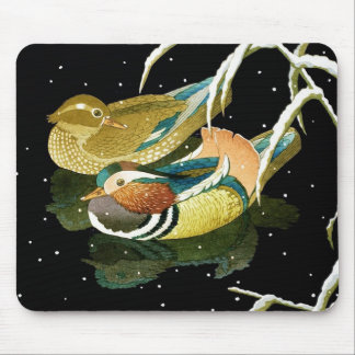 Cool japanese mandarina duck black pond snow mouse pad