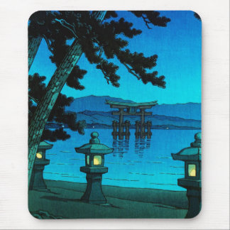 Cool japanese moonlit night gate sea hasui kawase mouse pad