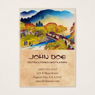 Cool japanese mountain fall river bridge scenery business card