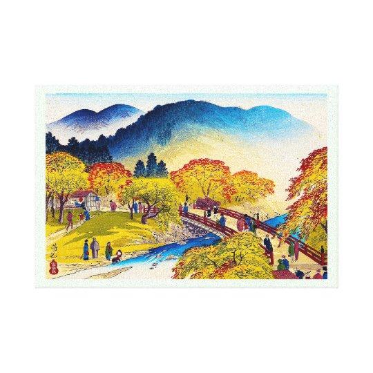 Cool japanese mountain fall river bridge scenery canvas print