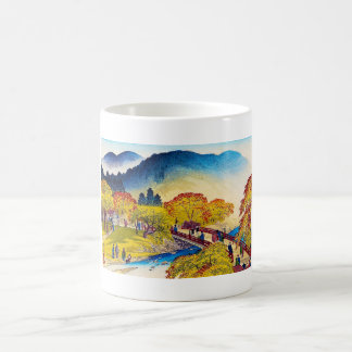 Cool japanese mountain fall river bridge scenery coffee mug
