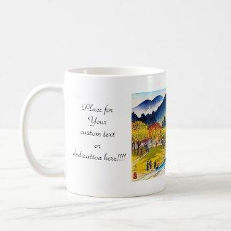 Cool japanese mountain fall river bridge scenery coffee mugs
