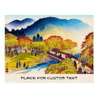 Cool japanese mountain fall river bridge scenery postcard
