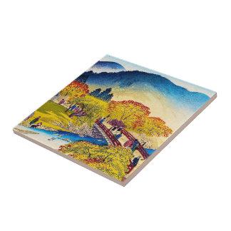 Cool japanese mountain fall river bridge scenery ceramic tiles