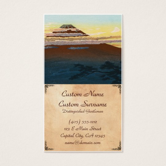Cool japanese mountain fuji sunset clouds scenery business card