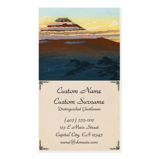Cool japanese mountain fuji sunset clouds scenery business cards