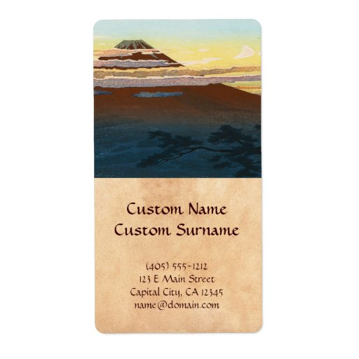 Cool japanese mountain fuji sunset clouds scenery shipping label