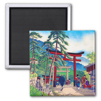 Cool japanese mountain tori gate people scenery 2 inch square magnet