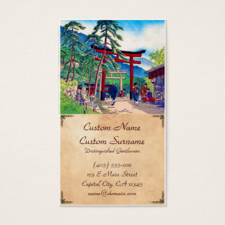 Cool japanese mountain tori gate people scenery business card