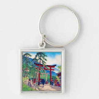 Cool japanese mountain tori gate people scenery keychain