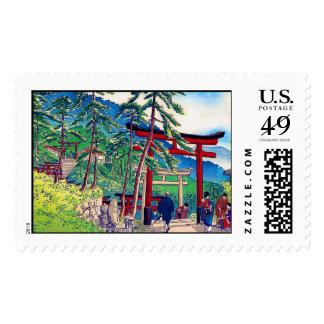 Cool japanese mountain tori gate people scenery postage