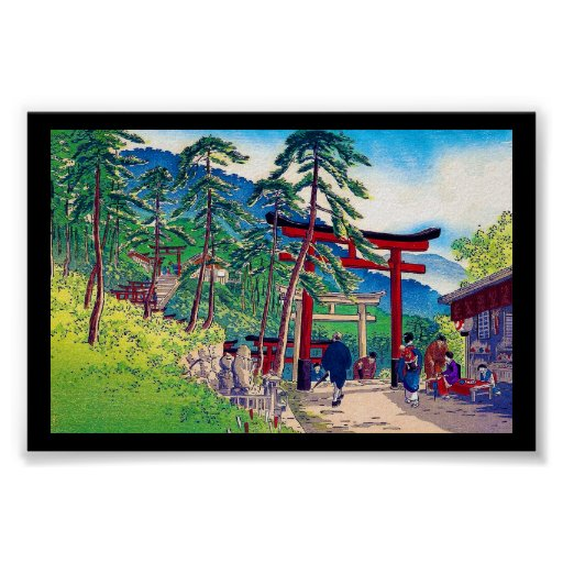 Cool japanese mountain tori gate people scenery poster