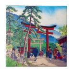 Cool japanese mountain tori gate people scenery tiles