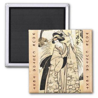 Cool japanese old vintage ukiy-o geisha tattoo 2 inch square magnet