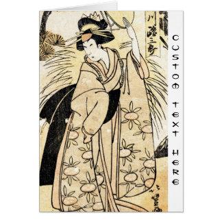 Cool japanese old vintage ukiy-o geisha tattoo card