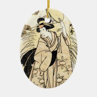 Cool japanese old vintage ukiy-o geisha tattoo ceramic ornament