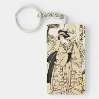 Cool japanese old vintage ukiy-o geisha tattoo Double-Sided rectangular acrylic keychain