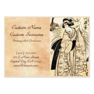 Cool japanese old vintage ukiy-o geisha tattoo large business card