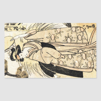 Cool japanese old vintage ukiy-o geisha tattoo rectangular sticker