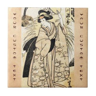 Cool japanese old vintage ukiy-o geisha tattoo tile