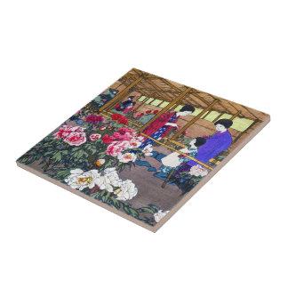 Cool japanese oriental flower garden people scene ceramic tile