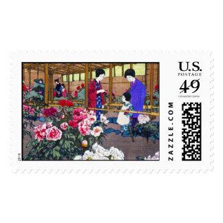 Cool japanese oriental flower garden people scene postage