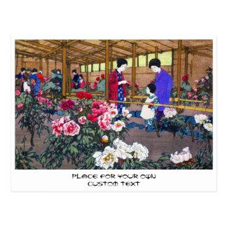 Cool japanese oriental flower garden people scene postcard