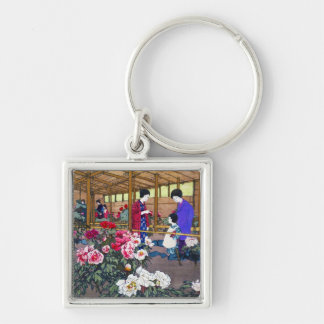 Cool japanese oriental flower garden people scene Silver-Colored square keychain