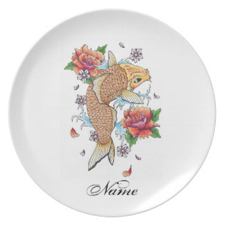 Cool Japanese Oriental Gold Koi Fish Carp Lotus Dinner Plate