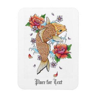 Cool Japanese Oriental Gold Koi Fish Carp Lotus Rectangular Photo Magnet