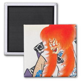 Cool japanese oriental tadamasa kabuki warrior art 2 inch square magnet