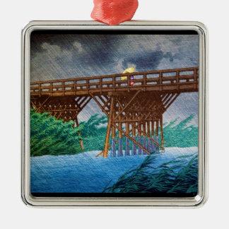 Cool japanese rain bridge river forest Kawase art Metal Ornament