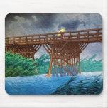 Cool japanese rain bridge river forest Kawase art Mouse Pad