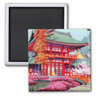 Cool japanese Red Temple Spring Asano Takeji 2 Inch Square Magnet