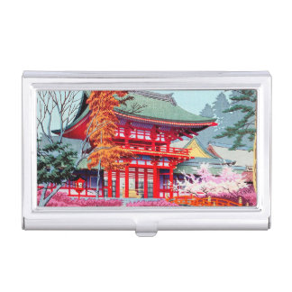 Cool japanese Red Temple Spring Asano Takeji art Business Card Holders