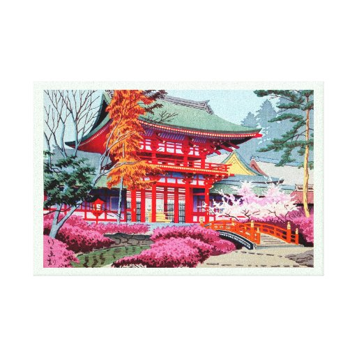 Cool japanese Red Temple Spring Asano Takeji Stretched Canvas Print