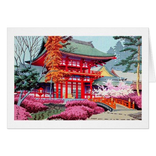 Cool japanese Red Temple Spring Asano Takeji Card