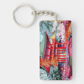 Cool japanese Red Temple Spring Asano Takeji Keychain