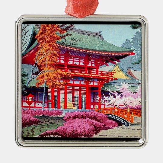Cool japanese Red Temple Spring Asano Takeji Metal Ornament