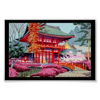Cool japanese Red Temple Spring Asano Takeji Poster