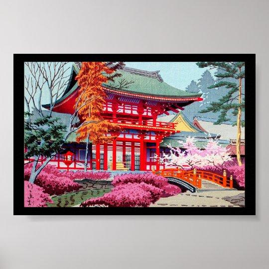 Cool japanese Red Temple Spring Asano Takeji Poster