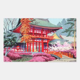 Cool japanese Red Temple Spring Asano Takeji Rectangular Sticker