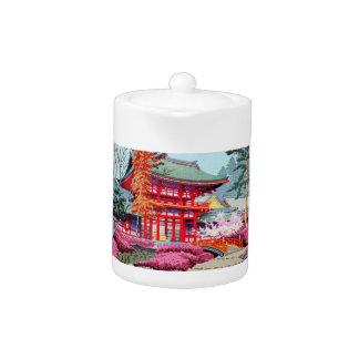 Cool japanese Red Temple Spring Asano Takeji Teapot