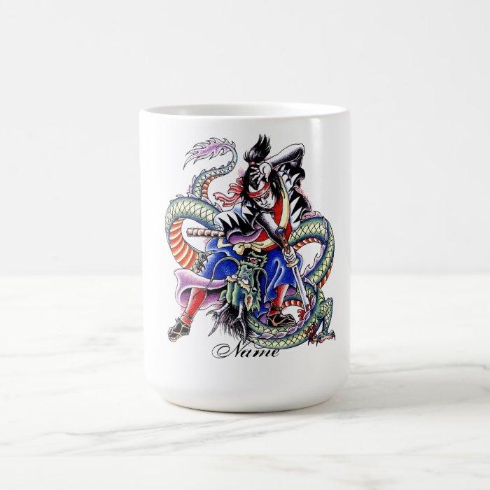 Cool Japanese Samurai Fight Dragon tattoo Coffee Mug