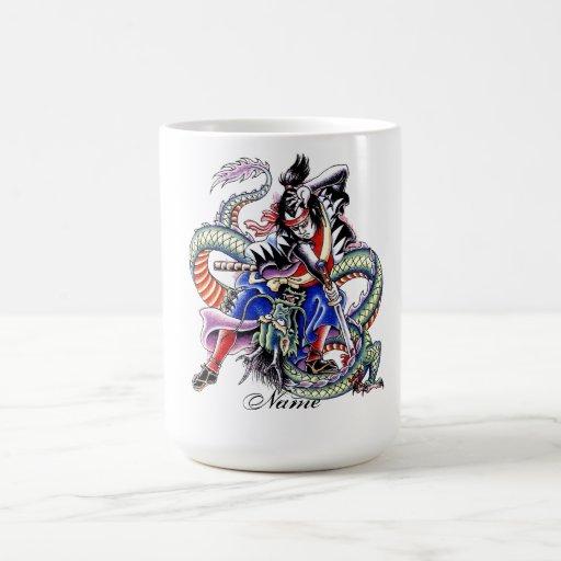 Cool Japanese Samurai Fight Dragon tattoo Coffee Mugs