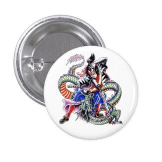 Cool Japanese Samurai Fight Dragon tattoo Pinback Button
