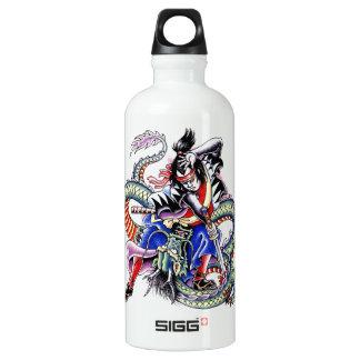 Cool Japanese Samurai Fight Dragon tattoo Water Bottle