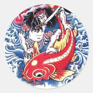 Cool Japanese Samurai Koi Carp red tattoo Sticker